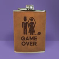 Bride Game Over Engraved Hip Flask - Brown - Engraved Gifts