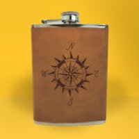 Vintage Compass Engraved Hip Flask - Brown - Engraved Gifts