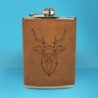 Geometric Stag Head Engraved Hip Flask - Brown - Engraved Gifts