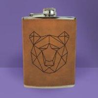 Geometric Bear Head Engraved Hip Flask - Brown - Engraved Gifts