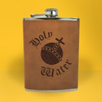 Holy Water Engraved Hip Flask - Brown - Engraved Gifts
