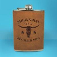 Western Moonshine Distilled 1865 Engraved Hip Flask - Brown - Engraved Gifts