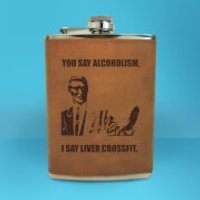 Correction Guy Meme You Say Alcoholism Engraved Hip Flask - Brown - Engraved Gifts