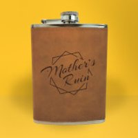 Mother's Ruin Engraved Hip Flask - Brown - Engraved Gifts
