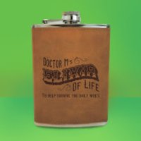 Doctor M's Elixir Of Life Engraved Hip Flask - Brown - Engraved Gifts