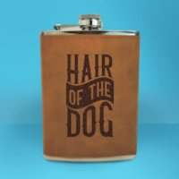 Hair Of The Dog Engraved Hip Flask - Brown - Engraved Gifts