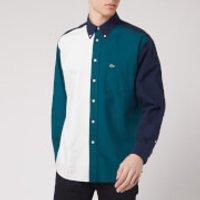 Lacoste Men's Colour Block Shirt - Navy Green/Off White - L/EU 41