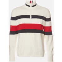 Tommy Hilfiger Men's Bold Global Stripe Zip Mockneck Sweatshirt - Ecru - XXL