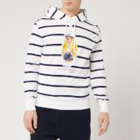 Polo Ralph Lauren Men's Bear Logo Stripe Hoodie - White/Cruise Navy - M