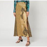 RIXO Women's Parker Skirt - Gold Patchwork Leopard Mix - M