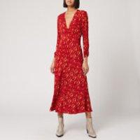 RIXO Women's Katie Dress - Klimt Eye Wave - Red Gold - L