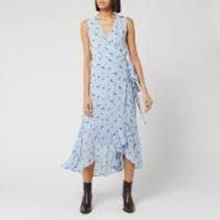 Ganni Women's Floral Printed Georgette Sleeveless Wrap Dress - Brunnera Blue - EU 34/UK 6