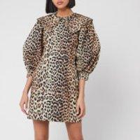 Ganni Women's Printed Cotton Poplin Mini Dress - Leopard - EU 36/UK 8
