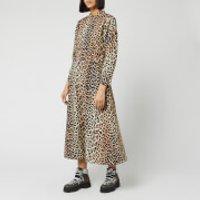 Ganni Women's Printed Cotton Poplin Midi Dress - Leopard - EU 38/UK 10