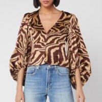 Ganni Women's Silk Zebra Blouse - Tannin - EU 38/UK 10