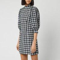 Ganni Women's Seersucker Check Mini Dress - Black - EU 34/UK 6