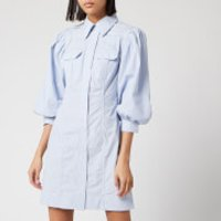 Ganni Women's Stripe Cotton Mini Shirt Dress - Brunnera Blue - EU 38/UK 10