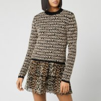 Ganni Women's Jacquard Logo Knitted Jumper - Black - S
