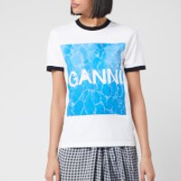 Ganni Women's Logo Graphic Print T-Shirt - White - M