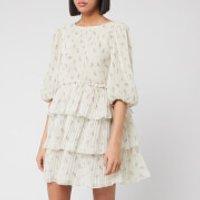 Ganni Women's Floral Pleated Georgette Mini Dress - Egret - EU 40/UK 12