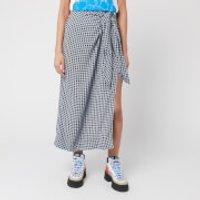 Ganni Women's Checked Printed Crepe Skirt - Brunnera Blue - EU 38/UK 10