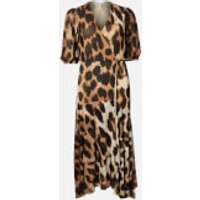 Ganni Women's Printed Mesh Wrap Dress - Maxi Leopard - EU 36/UK 8
