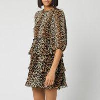 Ganni Women's Pleated Georgette Mini Dress - Leopard - EU 36/UK 8