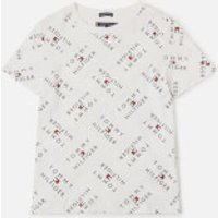 Tommy Kids Boys' All Over Logo T-Shirt - White - 7 Years