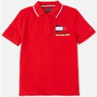 Tommy Kids Boys' Badge Polo Shirt - Deep Crimson - 12 Years