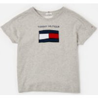 Tommy Kids Girls' Fun Graphic Flag T-Shirt - Light Grey Heather - 8 Years