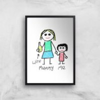 Mummy & Me Art Print - A2 - Black Frame