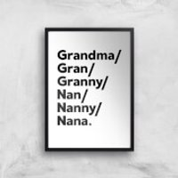 Gran's And Nan's Art Print - A2 - Black Frame