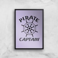 Pirate Captain Art Print - A2 - Black Frame