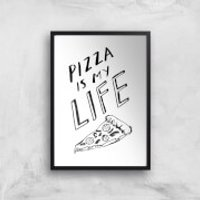 Rock On Ruby Pizza Is My Life Art Print - A2 - Black Frame