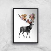 Tobias Fonseca Spring Itself Deer Floral Art Print - A2 - Black Frame