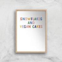 Snowflakes And Vegan Cakes Art Print - A2 - White Frame - Cakes Gifts