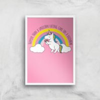Happier Than A Unicorn Eating Cake Art Print - A2 - White Frame - Eating Gifts