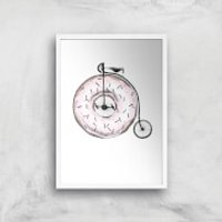 Donut Ride My Bicycle Art Print - A2 - White Frame - Bicycle Gifts
