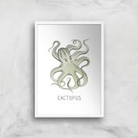Cactopus Art Print - A2 - White Frame