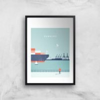 Hamburg Art Print - A2 - Black Frame