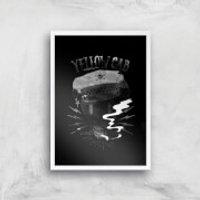 Yellow Cab Hyena Art Print - A2 - White Frame