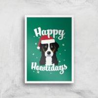 Happy Howlidays Art Print - A2 - White Frame