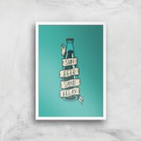 Sun Beer Sand Relax Art Print - A2 - White Frame - Sand Gifts