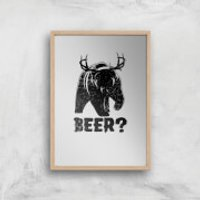 Beer Bear Deer Art Print - A2 - Wood Frame