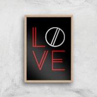 Love Geo Art Print - A2 - Wood Frame