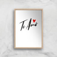 Te Amo Script Art Print - A2 - Wood Frame