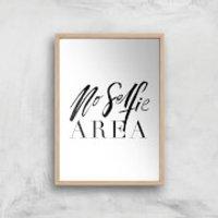 PlanetA444 No Selfie Area Art Print - A2 - Wood Frame - Selfie Gifts