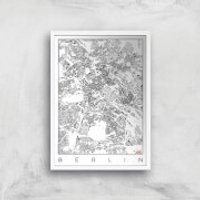 City Art Black and White Berlin Map Art Print - A2 - Wood Frame