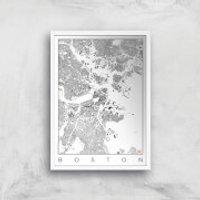 City Art Black and White Boston Map Art Print - A2 - Wood Frame