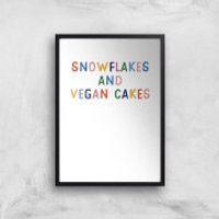 Snowflakes And Vegan Cakes Art Print - A3 - Black Frame - Cakes Gifts